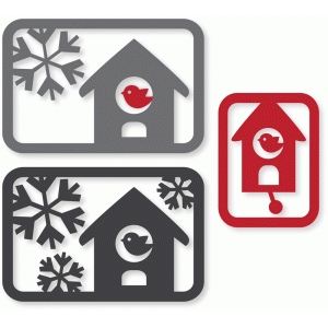 snowy birdhouse cards