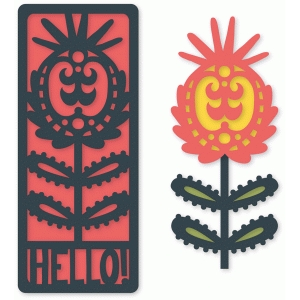 folk art flower flat hello card set for a10 envelope
