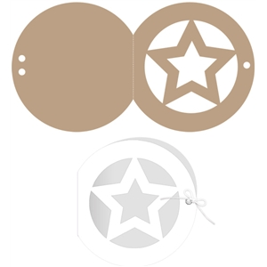 circle window ribbon card: star