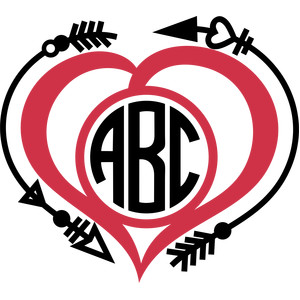 arrows heart monogram