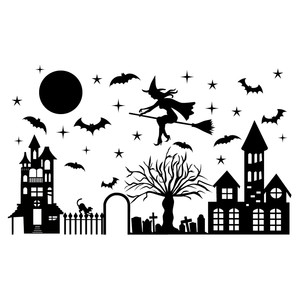 witch flying over town