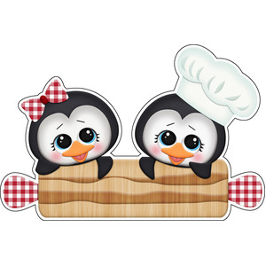 baking for santa penguins with rolling pin sticker / die cut