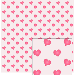 pink hearts on white pattern