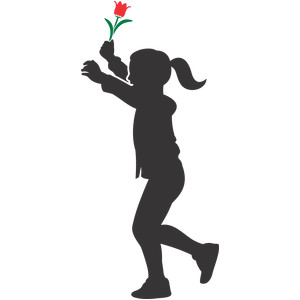 girl and flower silhouette