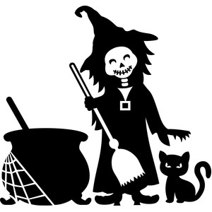 witch and cat halloween