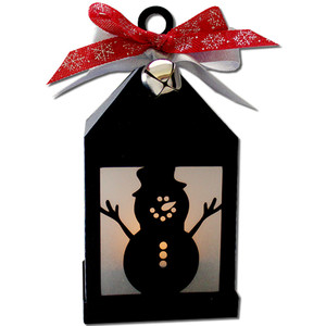 snowman hanging tea light lantern