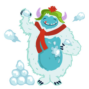yeti in snowball fight