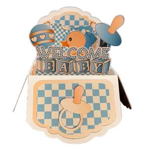 5x7 welcome baby pop up card in a box
