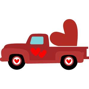red truck and heart