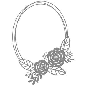 oval double floral frame