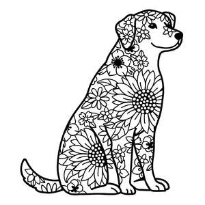 labrador dog flower mandala