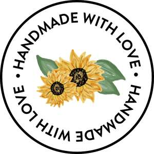 handmade with love sunflower sticker