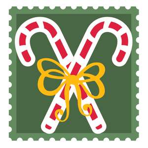 christmas postage stamp with candy canes