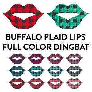 buffalo plaid lips full color dingbat