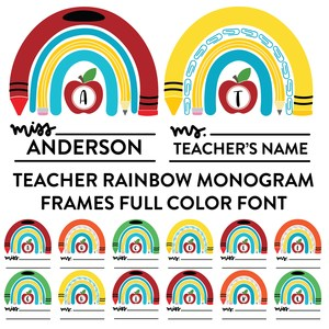 teacher rainbow monogram frames full color font