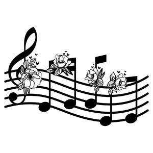 music notes with flower