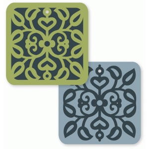 scrollwork vine square tag card set