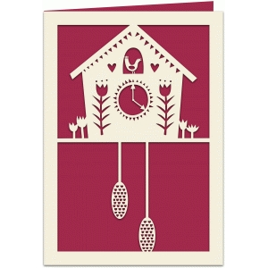 cuckoo clock papercut 7x5 card