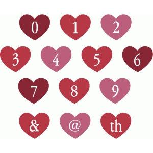 heart stencil alphabet - numbers & punctuation