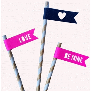 valentine straw toppers