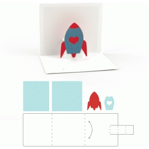 3x3 valentine pop up rocket card