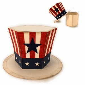 uncle sam 3d top hat box