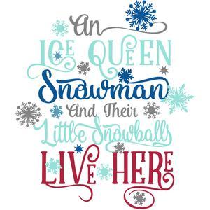 an ice queen, snowman, and snowballs live here
