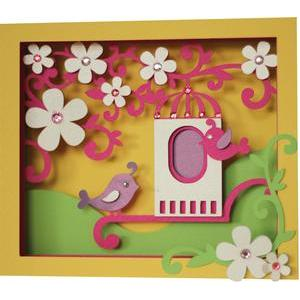 5x7 spring birds shadow box card