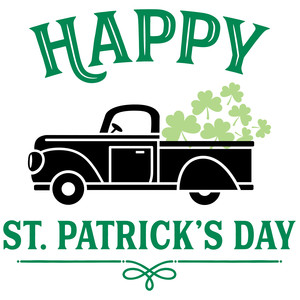 happy st. patrick's day truck with shamrocks