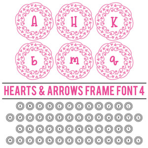 hearts & arrows frame font