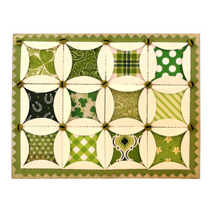 patchwork cathedral windows 5x7 card