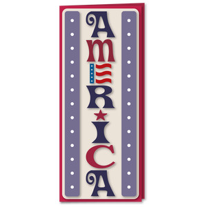 america word art banner card