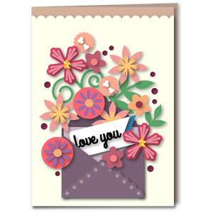 multi flora mini envelope love you card