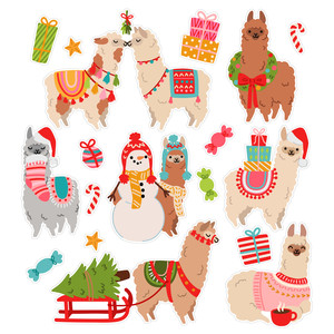 christmas alpacas stickers