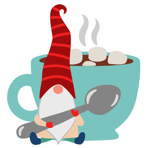 christmas gnome with hot chocolate cup