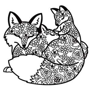 mother fox and babies floral mandala