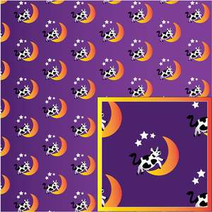 the cow jumped over the moon purple pattern