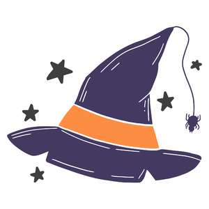 witch hat with stars and spider