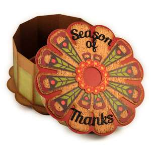 turkey feathers round 3d gift box