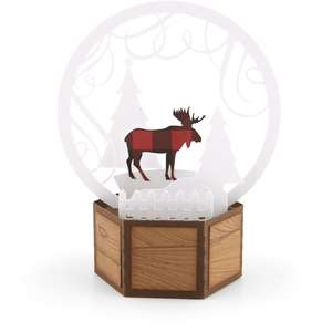 3d snow globe card moose