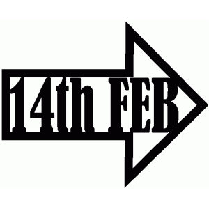 14th feb valentine word arrow