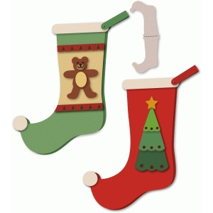 stocking shaped card pair teddy & tree stack