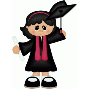 graduate girl throwing hat w black hair pnc
