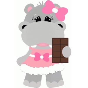 hippo eating candy bar