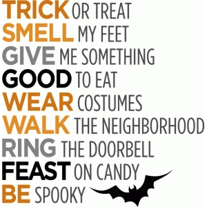 trick or treat halloween list
