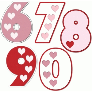 hearts numbers 6 7 8 9 0