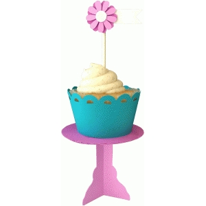 cupcake stand, wrapper and pick