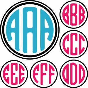 round monogram letters A-F