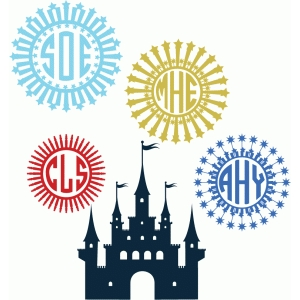 castle and fireworks monogram