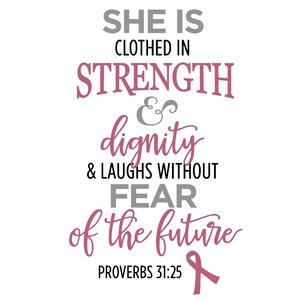 she is clothed in strength (breast cancer) phrase